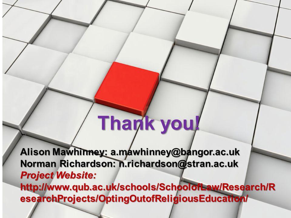 Thank you! Alison Mawhinney: a.mawhinney@bangor.ac.uk Norman Richardson: n.richardson@stran.ac.uk Project Website: http://www.qub.ac.uk/schools/School