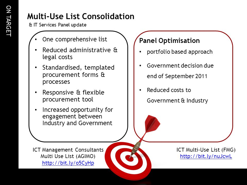 ON TARGET One comprehensive list Reduced administrative & legal costs Standardised, templated procurement forms & processes Responsive & flexible proc