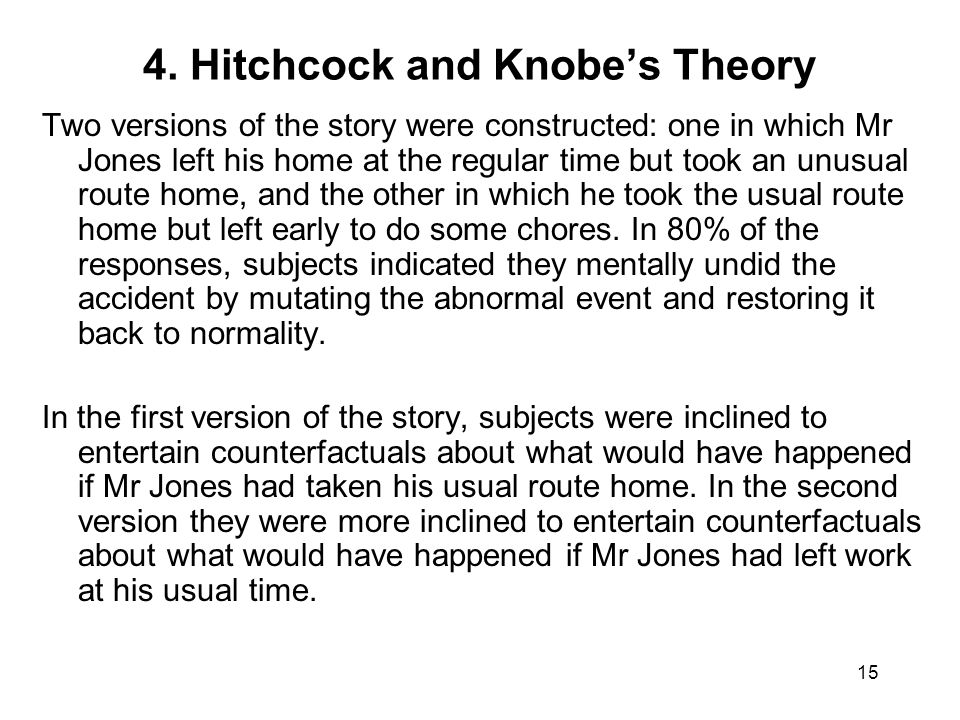 15 4. Hitchcock and Knobe's Theory Two versions of the story were constructed: one in which Mr Jones left his home at the regular time but took an unu