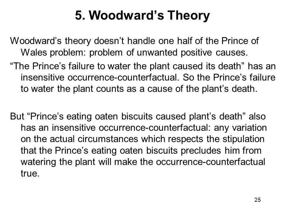 "5. Woodward's Theory Woodward's theory doesn't handle one half of the Prince of Wales problem: problem of unwanted positive causes. ""The Prince's fail"