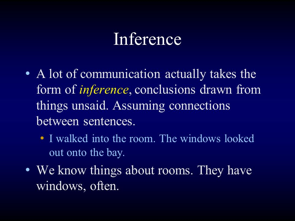 Inference A lot of communication actually takes the form of inference, conclusions drawn from things unsaid.