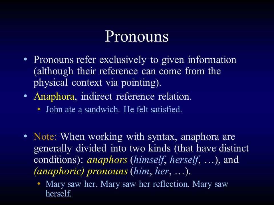 Pronouns Pronouns refer exclusively to given information (although their reference can come from the physical context via pointing).