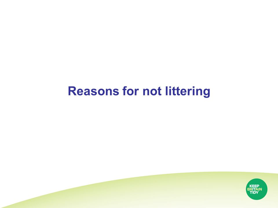 Reasons for not littering