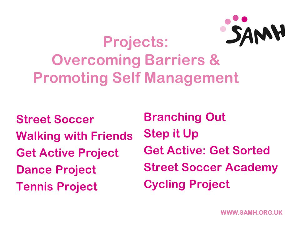 Projects: Overcoming Barriers & Promoting Self Management Street Soccer Walking with Friends Get Active Project Dance Project Tennis Project Branching Out Step it Up Get Active: Get Sorted Street Soccer Academy Cycling Project