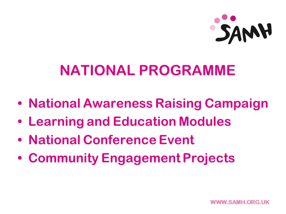WWW.SAMH.ORG.UK Get Active: Facilitating Self Management + Recognising Achievement + Promoting Opportunities + Focused Upon Abilities WHAT NEXT ? THINKING No Activity Thinking About Activity Sampling Activity Sustained Activity Promoting Self Management