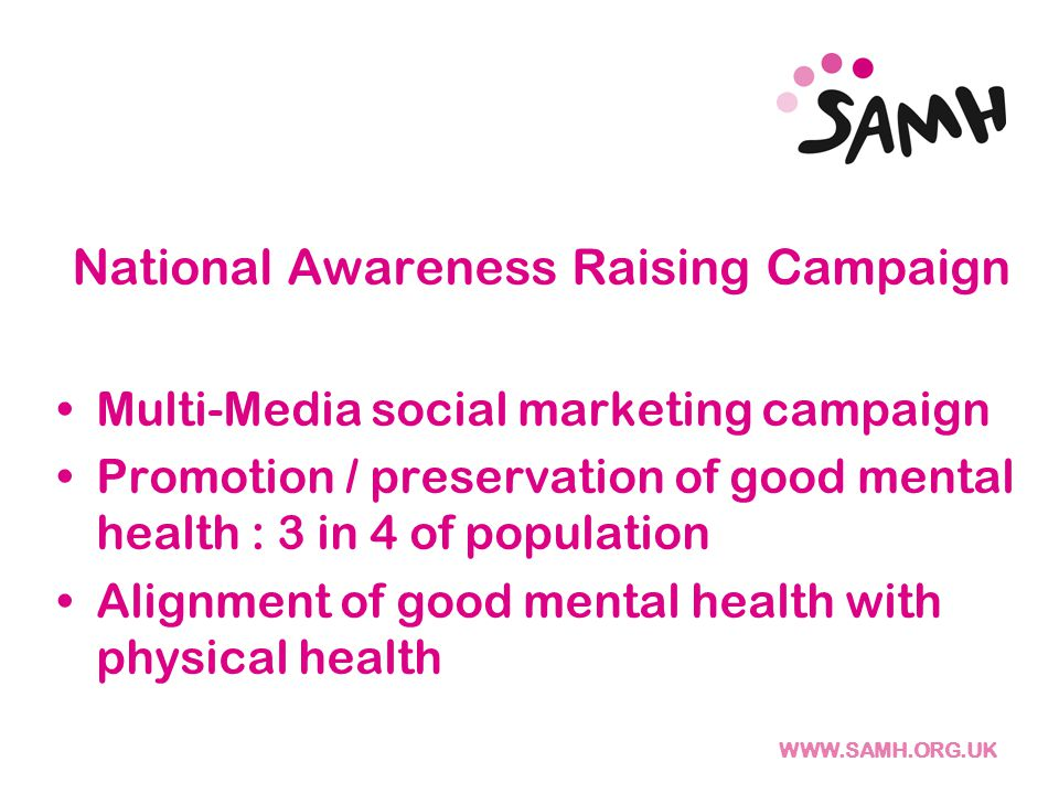 National Awareness Raising Campaign Multi-Media social marketing campaign Promotion / preservation of good mental health : 3 in 4 of population Alignment of good mental health with physical health