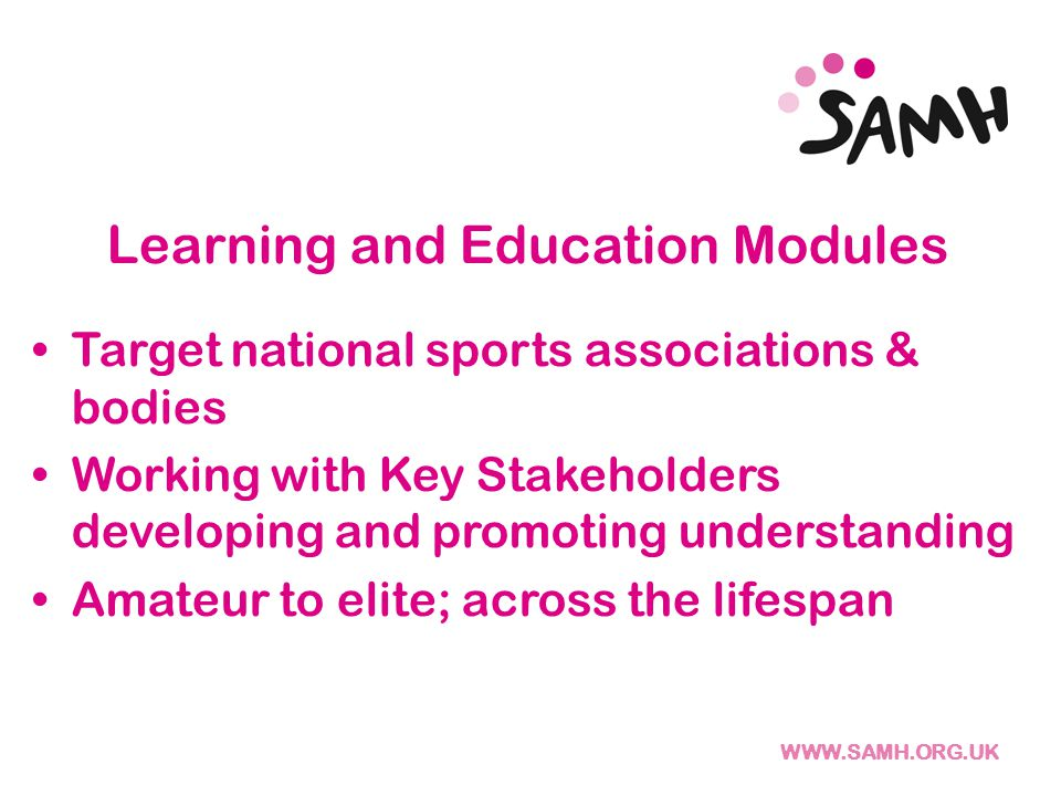 Learning and Education Modules Target national sports associations & bodies Working with Key Stakeholders developing and promoting understanding Amateur to elite; across the lifespan