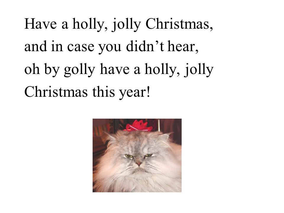 Have a holly, jolly Christmas, and in case you didn't hear, oh by golly have a holly, jolly Christmas this year!