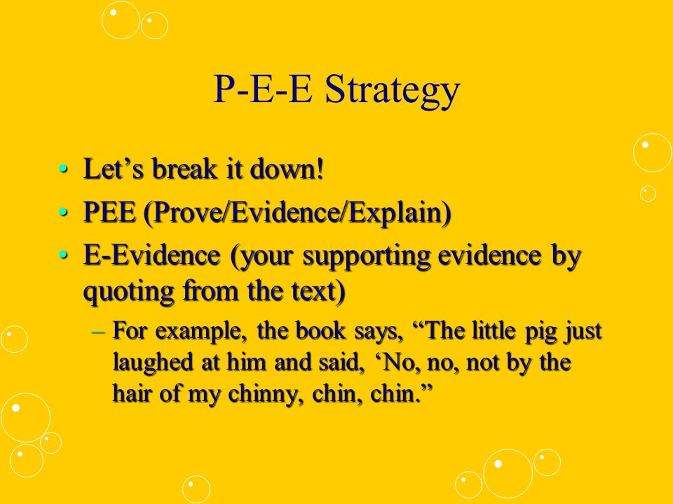 P-E-E Strategy Let's break it down.
