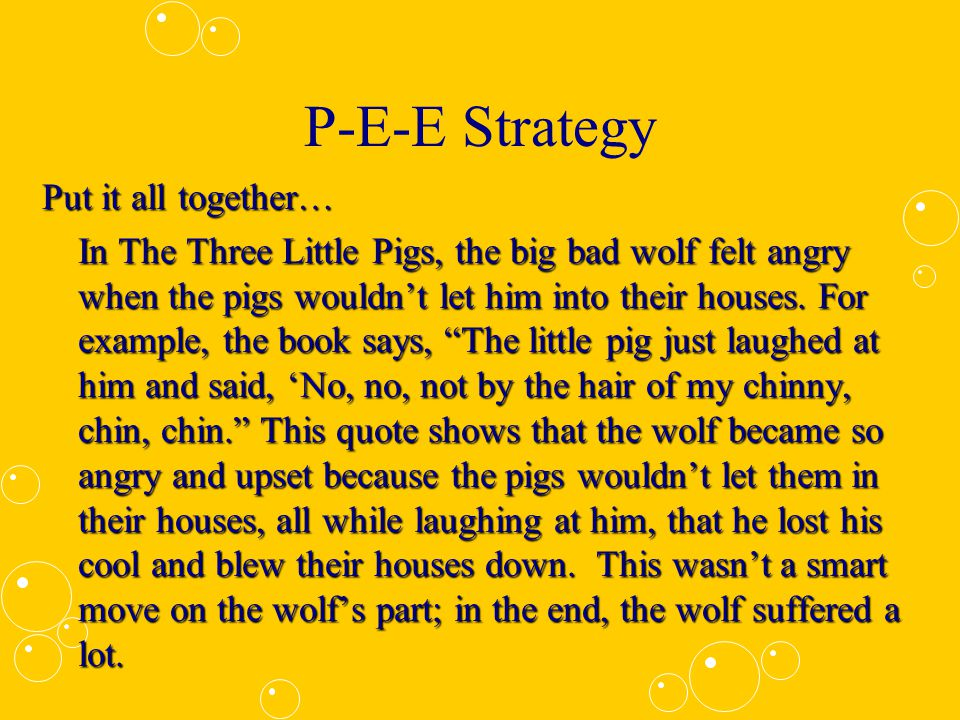 P-E-E Strategy Let's break it down!Let's break it down.