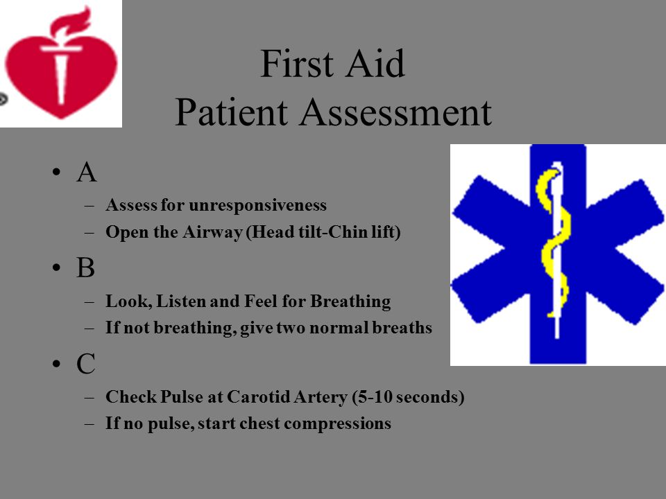 First Aid Patient Assessment A –Assess for unresponsiveness –Open the Airway (Head tilt-Chin lift) B –Look, Listen and Feel for Breathing –If not breathing, give two normal breaths C –Check Pulse at Carotid Artery (5-10 seconds) –If no pulse, start chest compressions