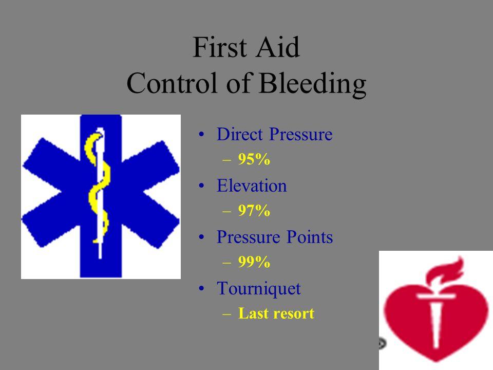 First Aid Control of Bleeding Direct Pressure –95% Elevation –97% Pressure Points –99% Tourniquet –Last resort