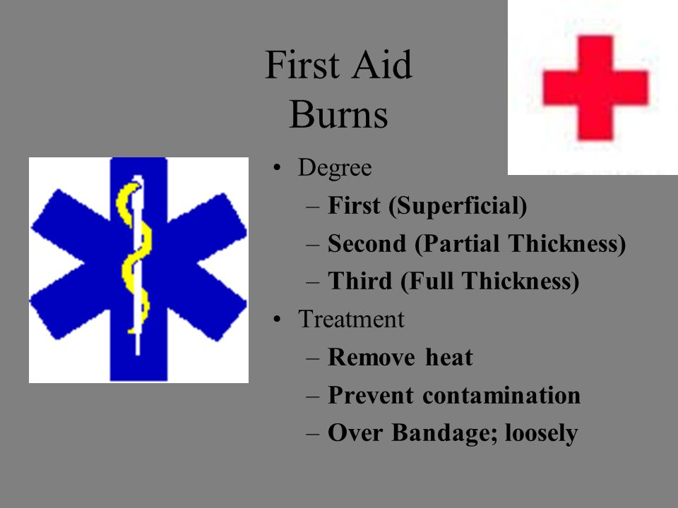 First Aid Burns Degree –First (Superficial) –Second (Partial Thickness) –Third (Full Thickness) Treatment –Remove heat –Prevent contamination –Over Bandage; loosely