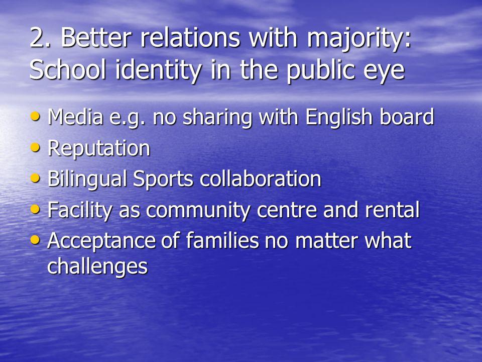 2. Better relations with majority: School identity in the public eye Media e.g.