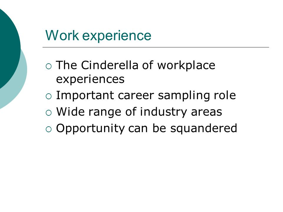 Work experience  The Cinderella of workplace experiences  Important career sampling role  Wide range of industry areas  Opportunity can be squande
