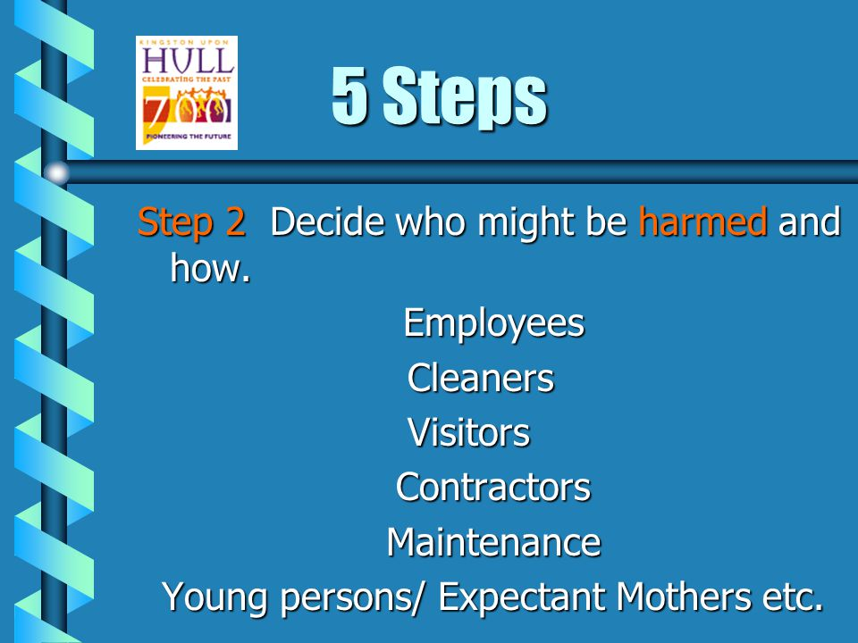 5 Steps Step 1Look for the hazards b Involve employees and safety reps b Hazards may include what