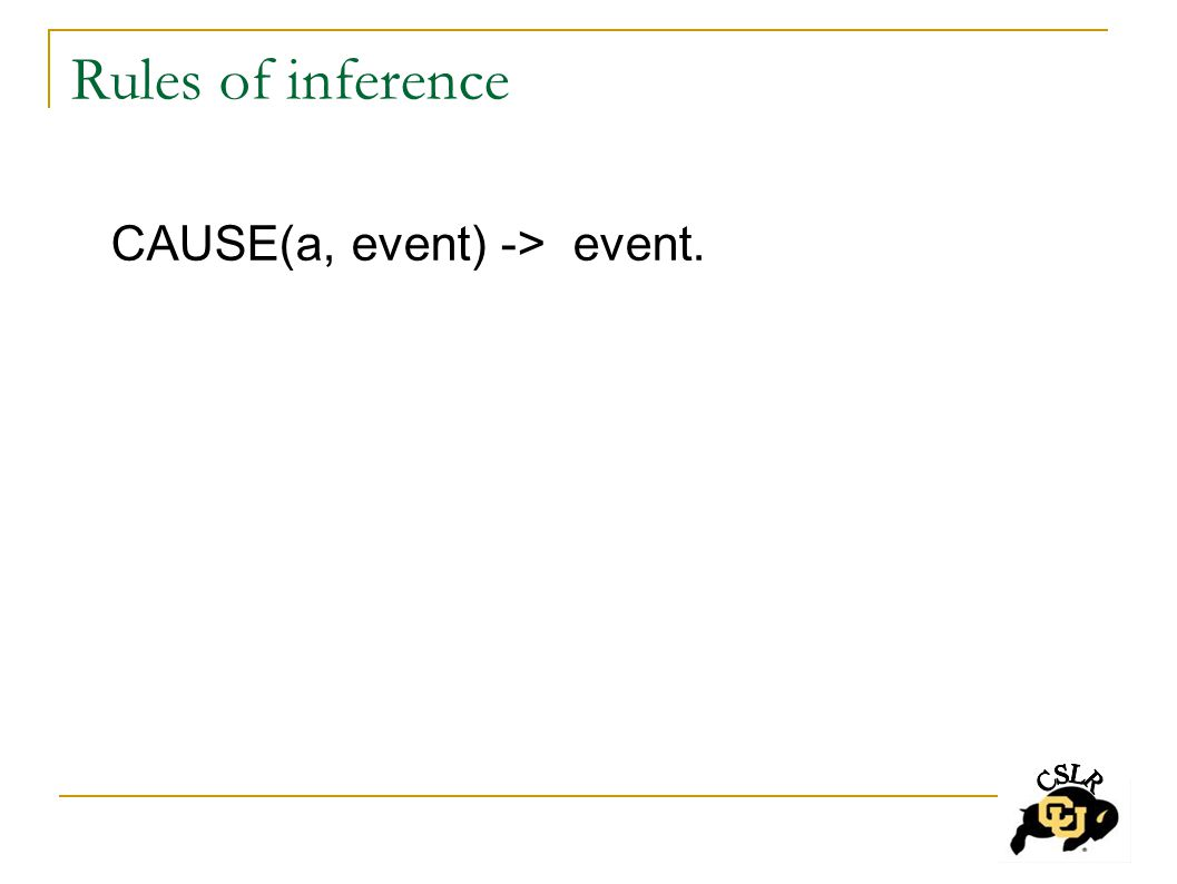 Rules of inference CAUSE(a, event) -> event.