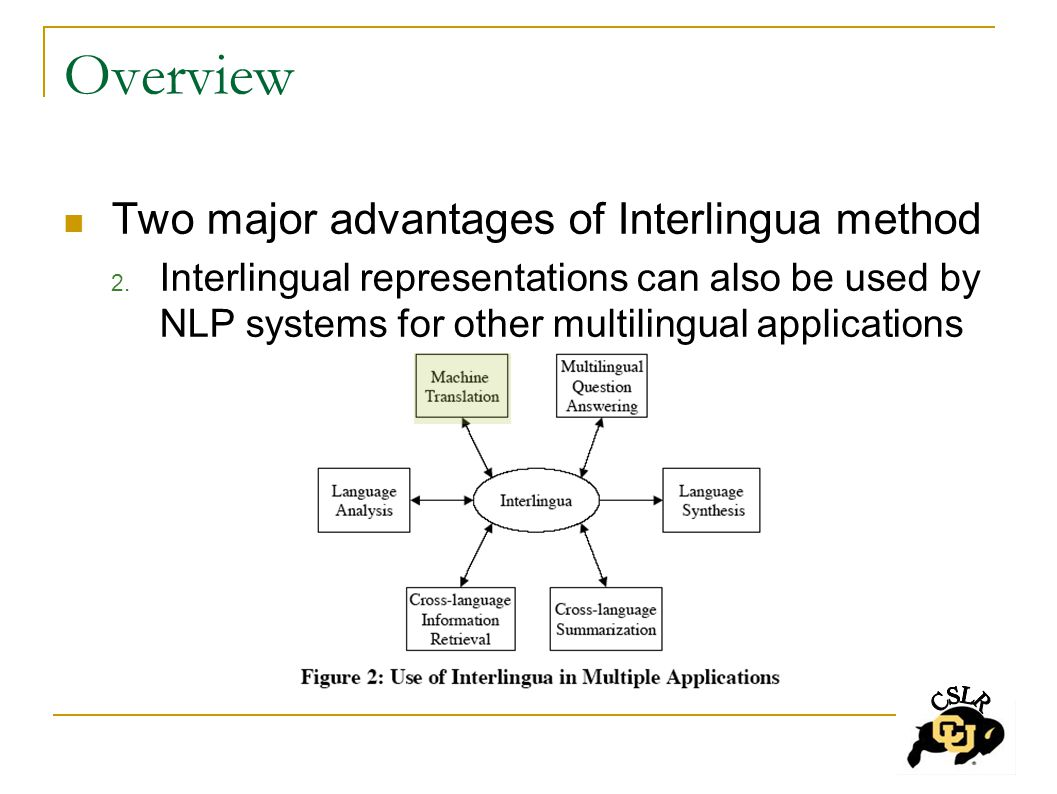 Overview Two major advantages of Interlingua method 2.