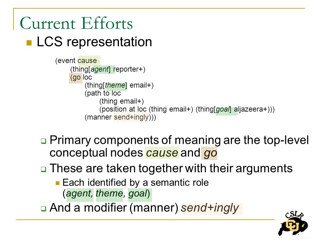 Current Efforts LCS representation (event cause (thing[agent] reporter+) (go loc (thing[theme] email+) (path to loc (thing email+) (position at loc (thing email+) (thing[goal] aljazeera+))) (manner send+ingly)))  Primary components of meaning are the top-level conceptual nodes cause and go  These are taken together with their arguments Each identified by a semantic role (agent, theme, goal)  And a modifier (manner) send+ingly