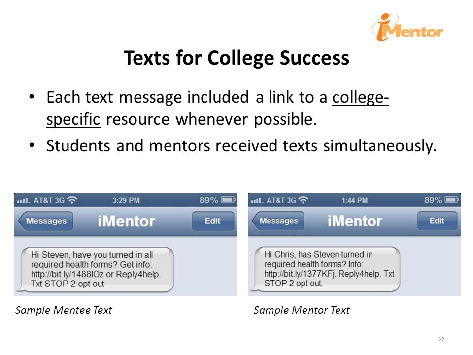 Texts for College Success Each text message included a link to a college- specific resource whenever possible.