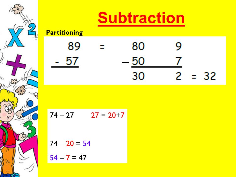 74 – 27 27 = 20+7 74 – 20 = 54 54 – 7 = 47 Partitioning
