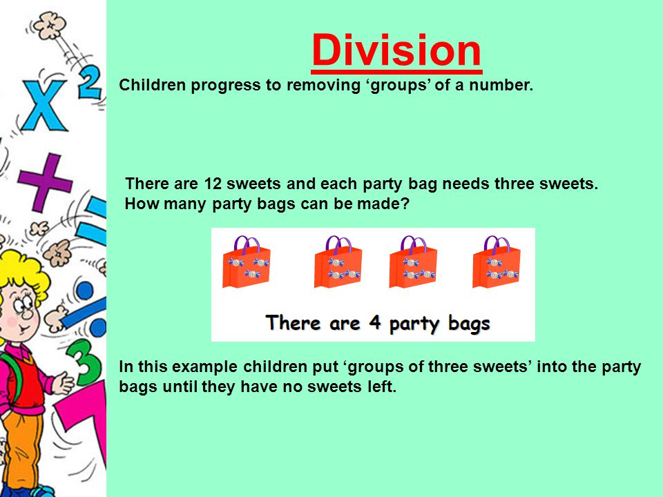 Division Children progress to removing 'groups' of a number.