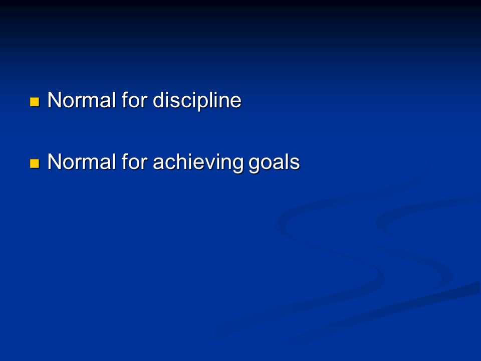 Normal for discipline Normal for discipline Normal for achieving goals Normal for achieving goals