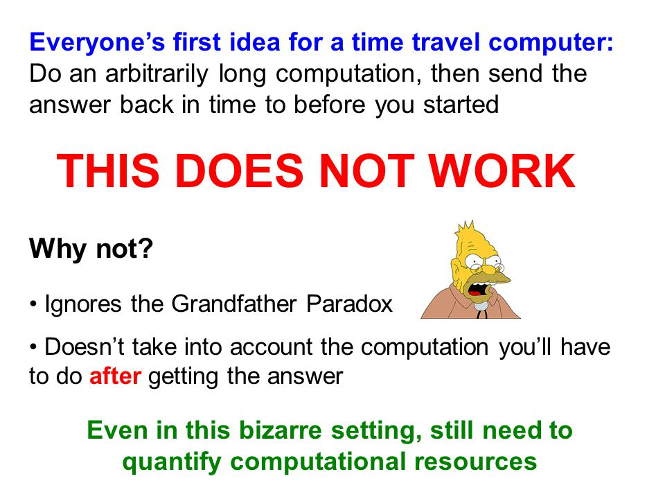 Everyone's first idea for a time travel computer: Do an arbitrarily long computation, then send the answer back in time to before you started THIS DOES NOT WORK Why not.