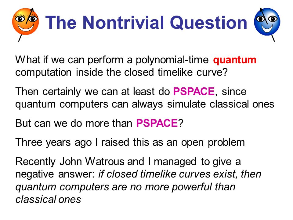 The Nontrivial Question What if we can perform a polynomial-time quantum computation inside the closed timelike curve.