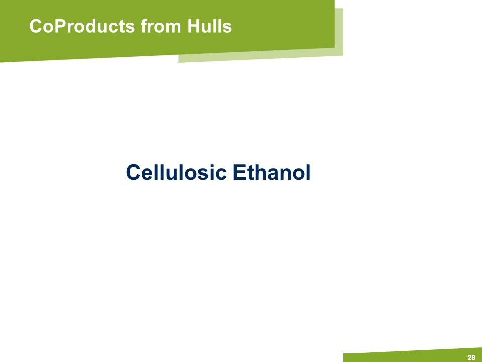 Apply name/department/presentation title in header and footer 28 CoProducts from Hulls Cellulosic Ethanol
