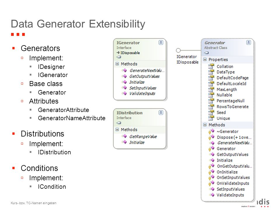 © 2006 Kurs- bzw. TC-Namen eingeben17 Data Generator Extensibility  Generators  Implement:  IDesigner  IGenerator  Base class  Generator  Attri