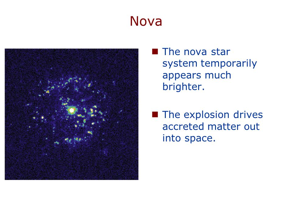 Nova The temperature of accreted matter eventually becomes hot enough for hydrogen fusion.