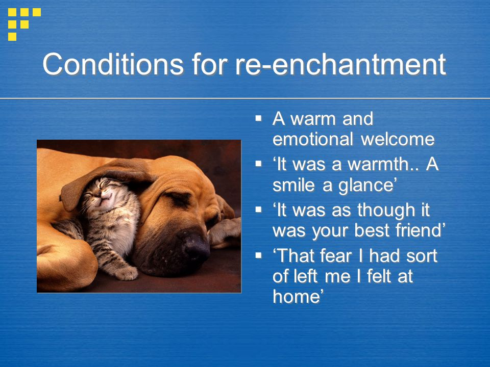 Conditions for re-enchantment  A warm and emotional welcome  'It was a warmth..