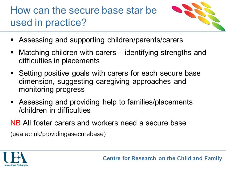 Centre for Research on the Child and Family How can the secure base star be used in practice?  Assessing and supporting children/parents/carers  Mat