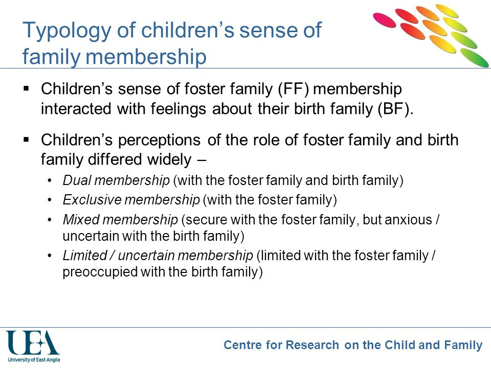 Centre for Research on the Child and Family Typology of children's sense of family membership  Children's sense of foster family (FF) membership inte