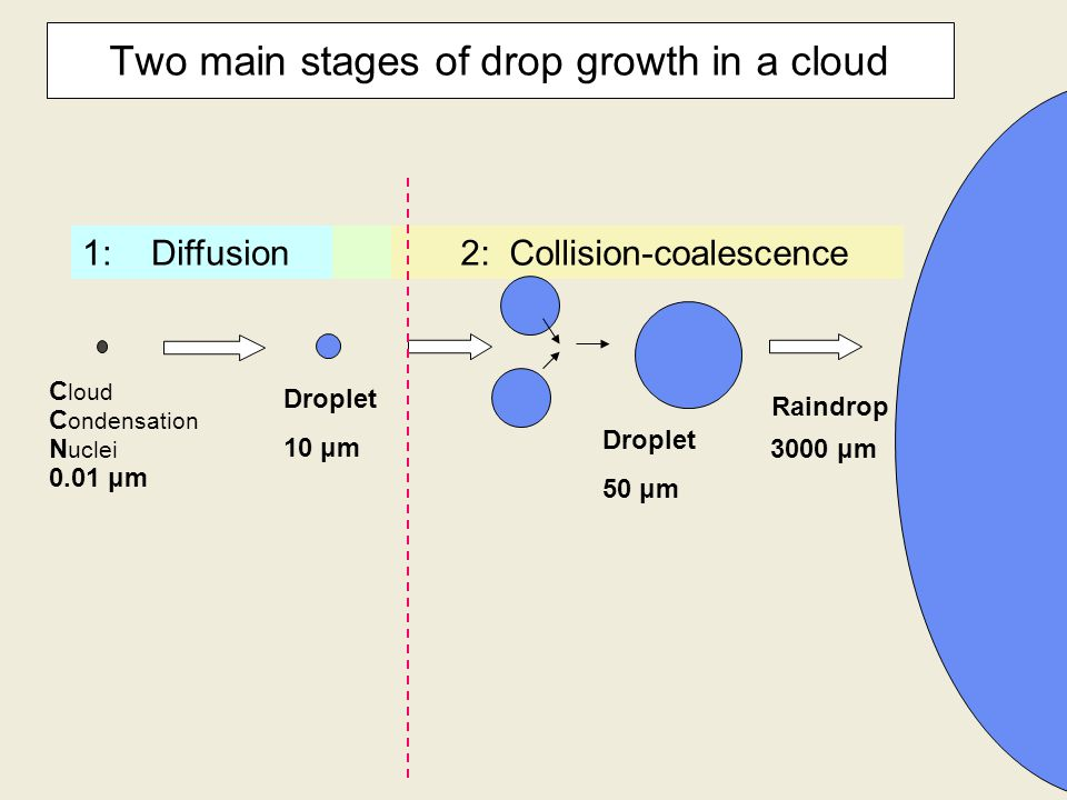 Two main stages of drop growth in a cloud C loud C ondensation N uclei 0.01 μm Droplet 10 μm Droplet 50 μm Raindrop 1: Diffusion 2: Collision-coalescence 3000 μm