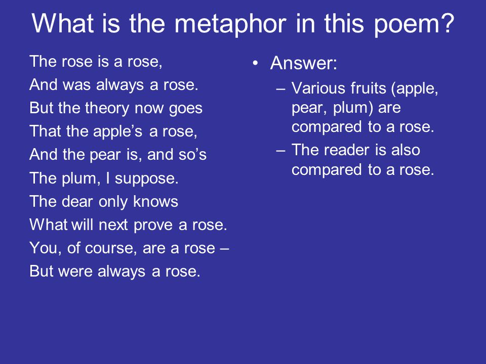 What is the metaphor in this poem? The rose is a rose, And was always a rose. But the theory now goes That the apple's a rose, And the pear is, and so