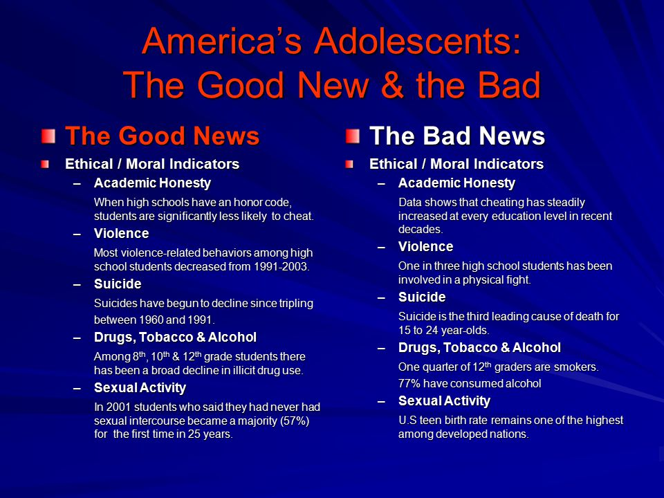 America's Adolescents: The Good New & the Bad The Good News Ethical / Moral Indicators –Academic Honesty When high schools have an honor code, student