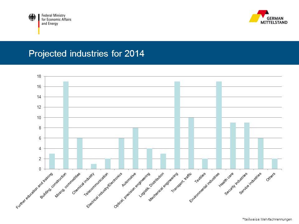 *teilweise Mehrfachnennungen Projected industries for 2014