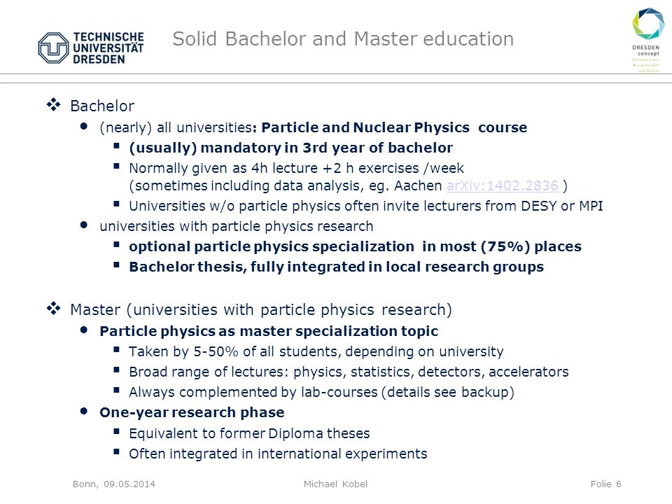 Solid Bachelor and Master education  Bachelor (nearly) all universities: Particle and Nuclear Physics course  (usually) mandatory in 3rd year of bachelor  Normally given as 4h lecture +2 h exercises /week (sometimes including data analysis, eg.