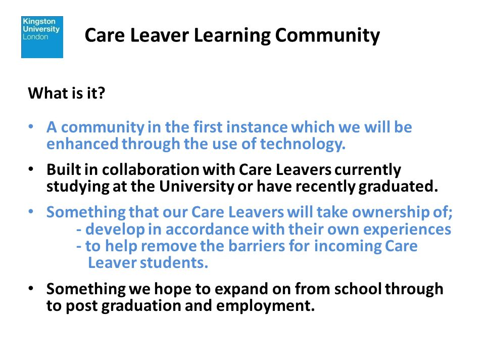 Care Leaver Learning Community How.