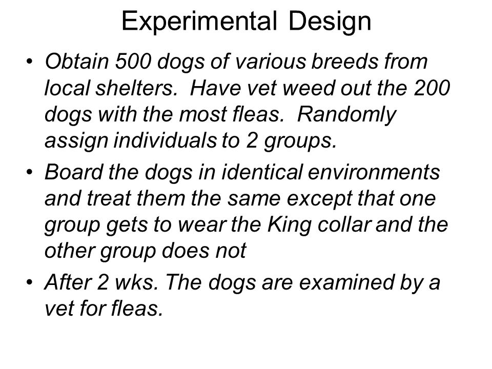 Experimental Design Obtain 500 dogs of various breeds from local shelters. Have vet weed out the 200 dogs with the most fleas. Randomly assign individ