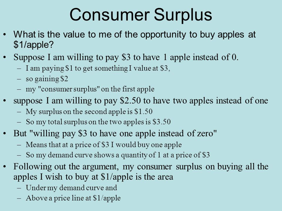 Total Surplus The same argument applies to a supply curve It shows how much a producer will produce and sell If I would produce a unit for any price above $1 And can sell it for $3 My producer surplus, aka profit, is $2.