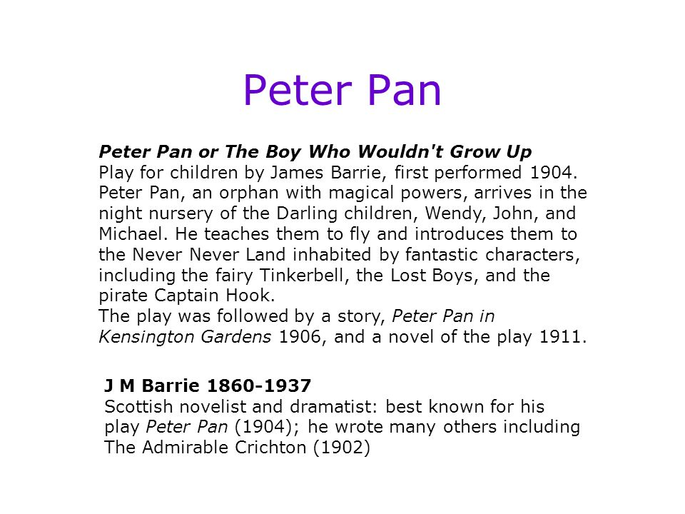 Peter Pan Approaches to Fantasy: a therapeutic function, i.e.