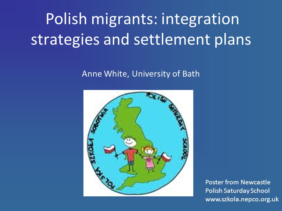Polish migrants: integration strategies and settlement plans Anne White, University of Bath Poster from Newcastle Polish Saturday School www.szkola.nepco.org.uk