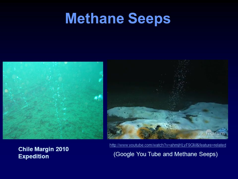 Methane Seeps http://www.youtube.com/watch?v=ahmjHLyF9GM&feature=related (Google You Tube and Methane Seeps) Chile Margin 2010 Expedition