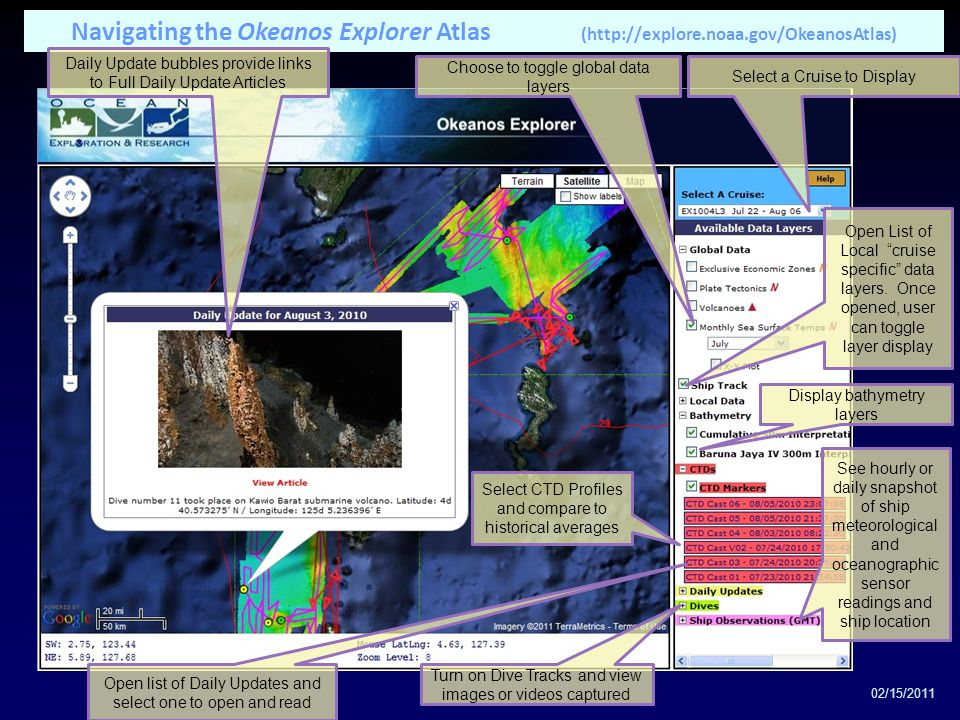 Display bathymetry layers Choose to toggle global data layers Open List of Local cruise specific data layers.
