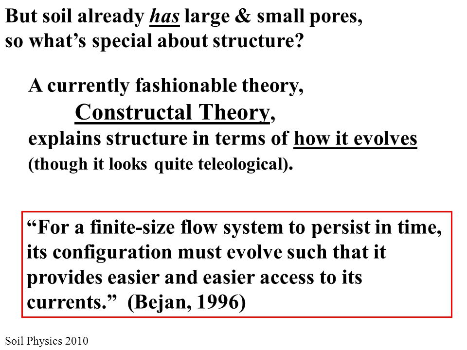 Soil Physics 2010 But soil already has large & small pores, so what's special about structure.