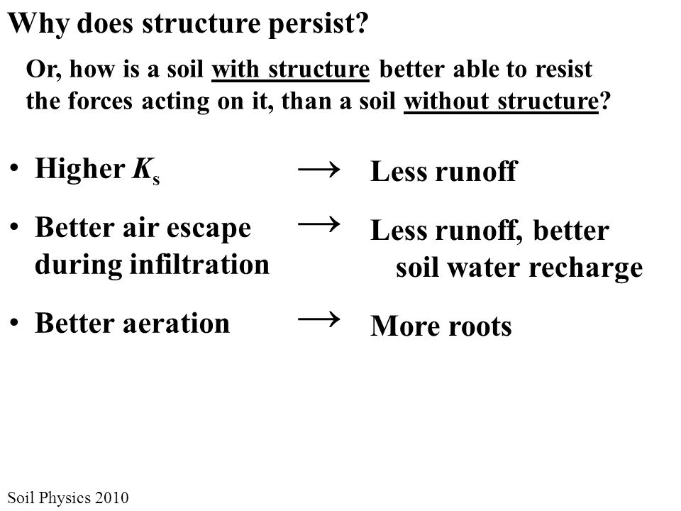 Soil Physics 2010 Why does structure persist.