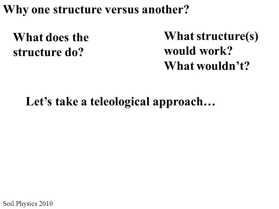 Soil Physics 2010 What does the structure do. Why one structure versus another.